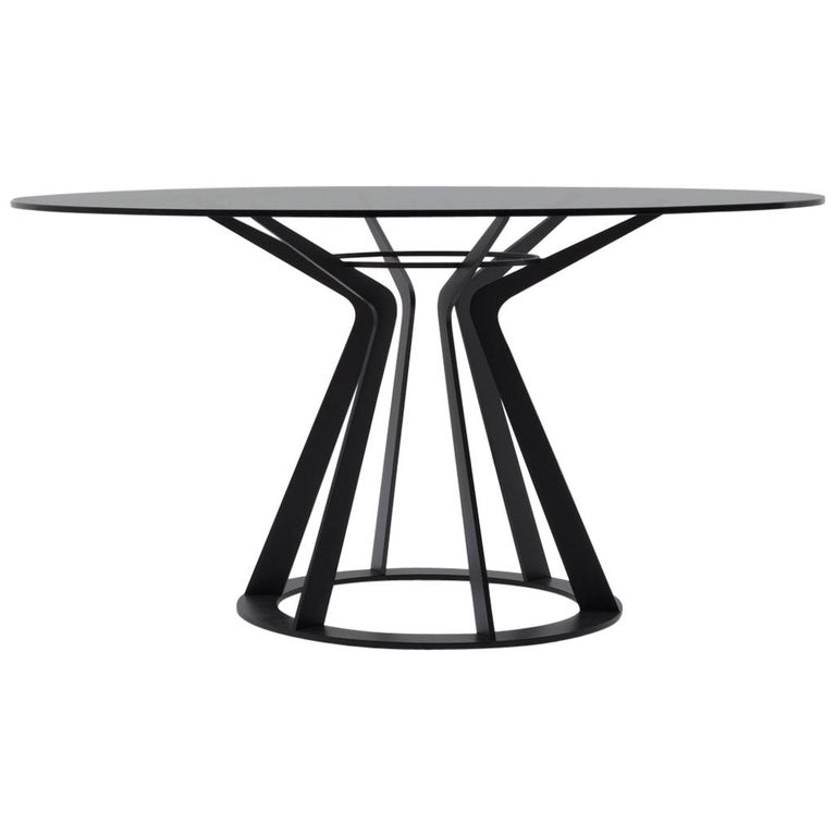 Nube Italia Mitos Table in Black with Black Glass Top by Giuliano Cappelletti For Sale