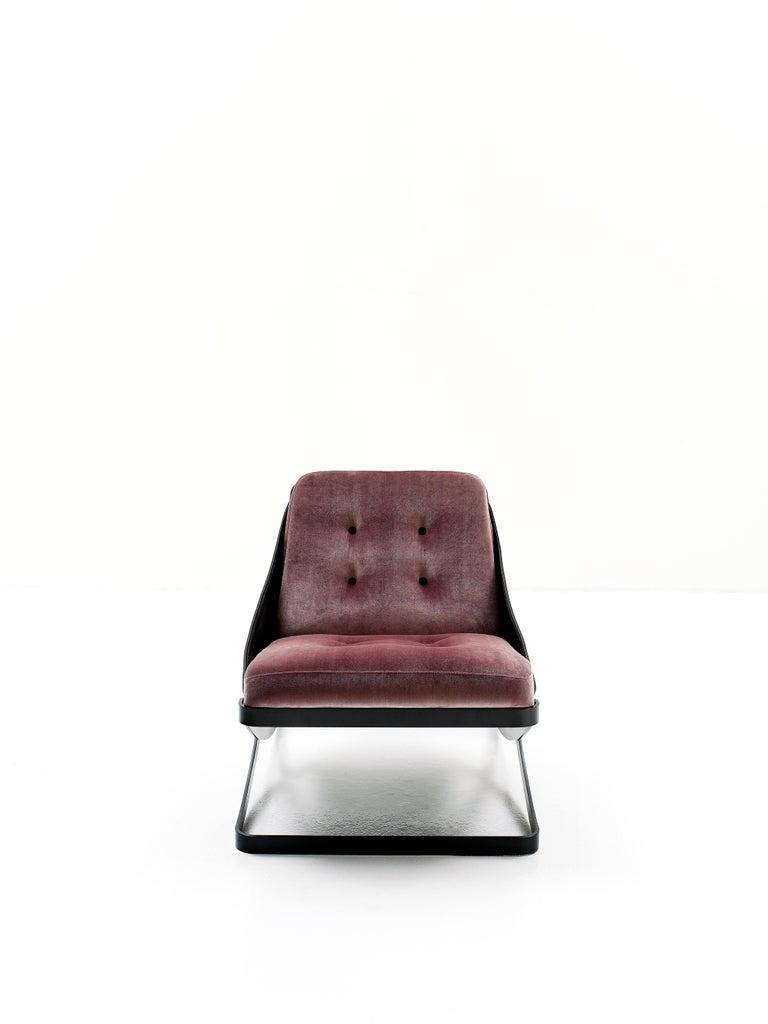 Italian Nube Italia Rest Armchair in Red or Dark Brown Velvet by Carlo Colombo For Sale