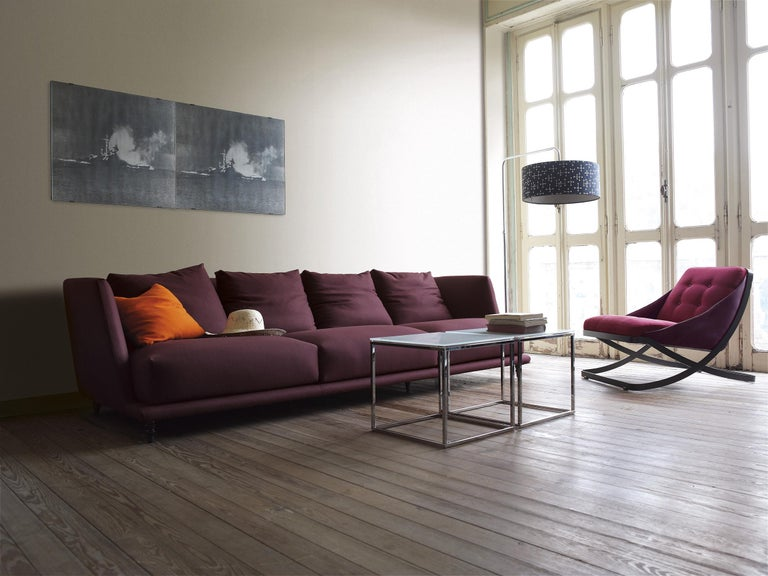 Contemporary Nube Italia Rest Armchair in Red or Dark Brown Velvet by Carlo Colombo For Sale