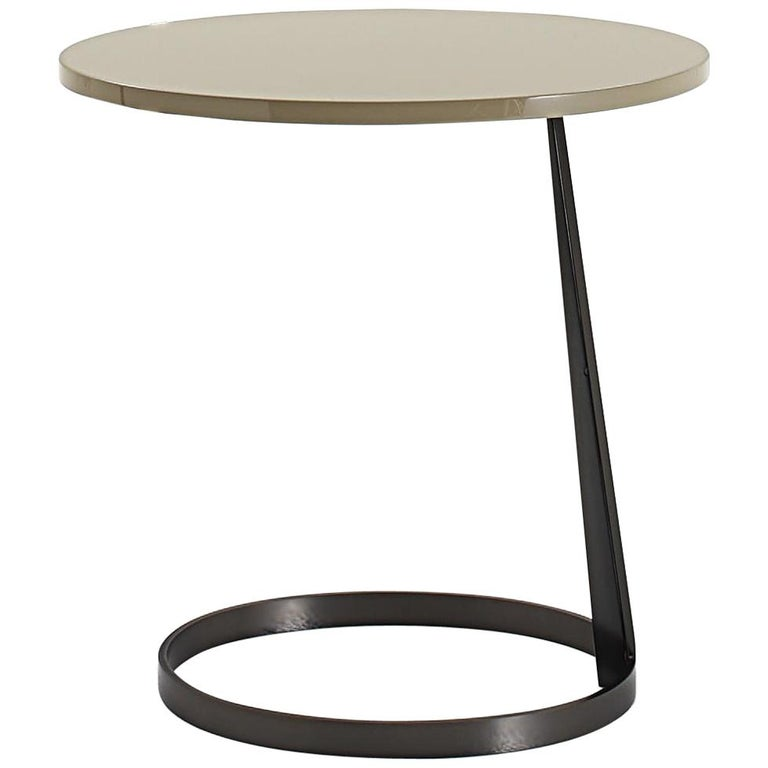 Nube Italia Rise Table in Tan Lacquered Wood by Marco Corti For Sale