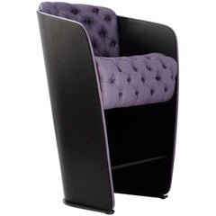 Nube Italia Sir Armchair in Lavender with Black Back by Carlo Colombo