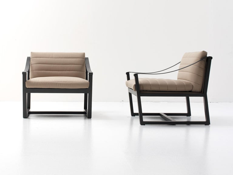 Modern Nube Italia Softwood Armchair in Taupe Leather by Marco Corti For Sale