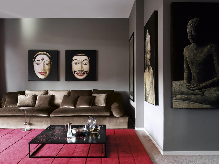 Italian Nube Italia Tender Sofa in Orange Upholstery by Carlo Colombo For Sale