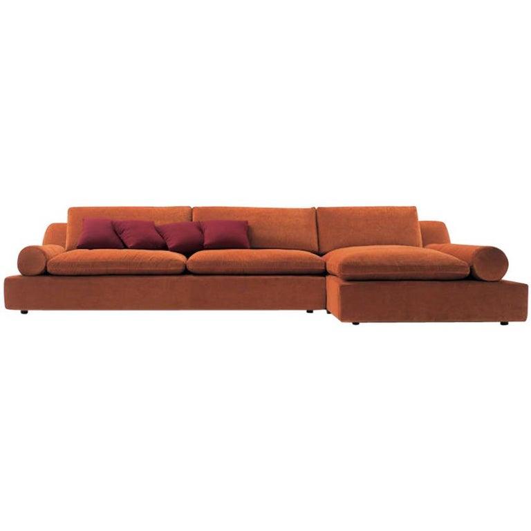 Nube Italia Tender Sofa in Orange Upholstery by Carlo Colombo For Sale