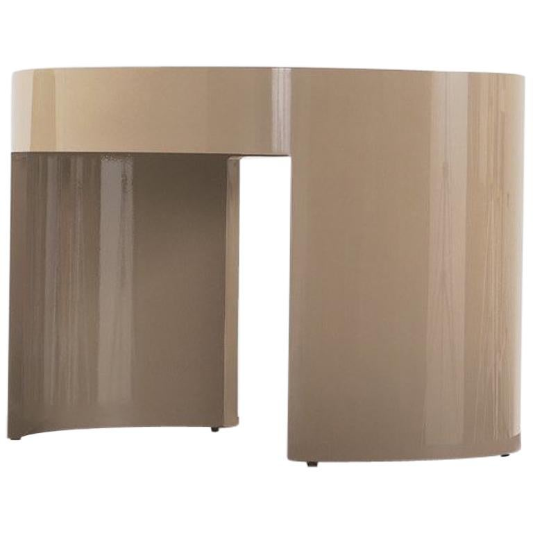 Nube Italia Turn Tall Side Table in Beige Lacquered Wood by Carlo Colombo For Sale