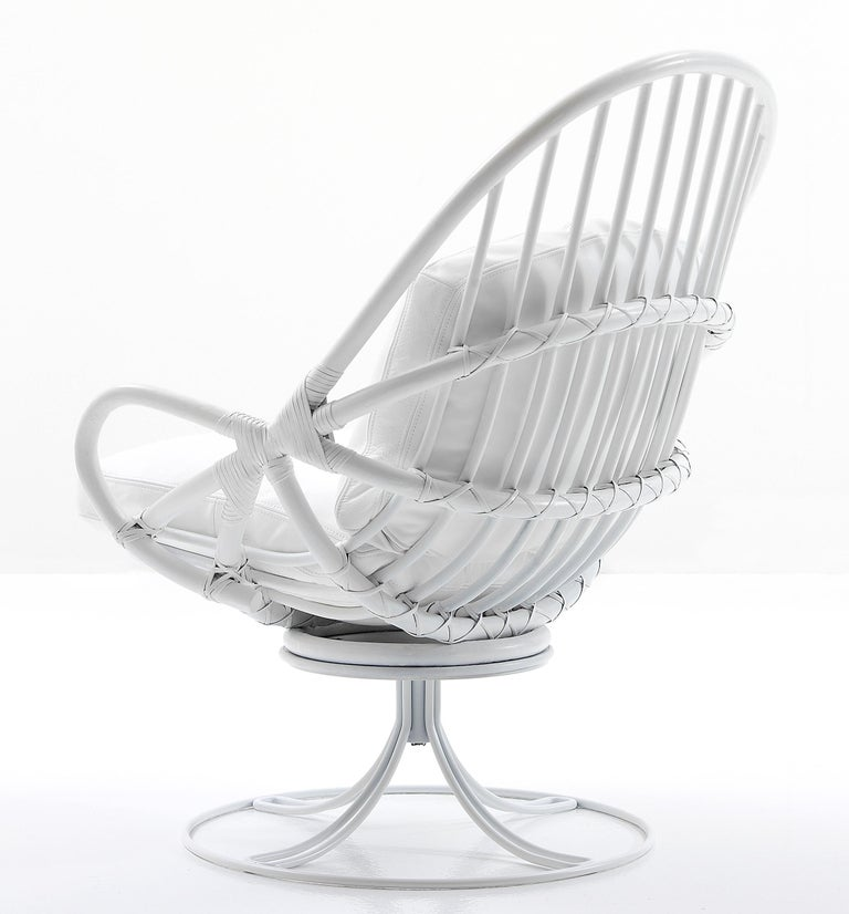 Modern Nube Italia Twist Armchair in White Bamboo with Metal Frame by Marco Corti For Sale