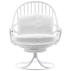 Nube Italia Twist Armchair in White Bamboo with Metal Frame by Marco Corti