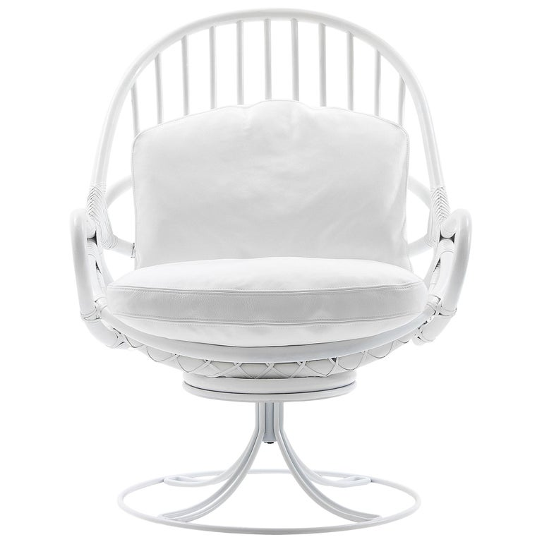 Nube Italia Twist Armchair in White Bamboo with Metal Frame by Marco Corti For Sale