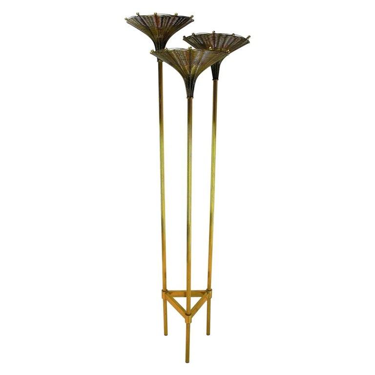 "Nucci Valsecchi ""Papyrus"" Brass Tripod Floor Lamp, 1970s For Sale"