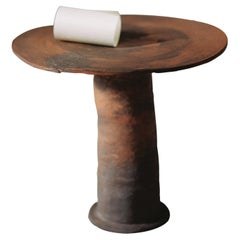 """""""Nucleo"""" Side Table Handmade Brown Clay Red Lombard ClayContemporary Art by Nino"""