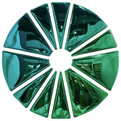 Nucleus 300 Polished Gradient of Emerald and Sapphire Color Stainless Steel Wall