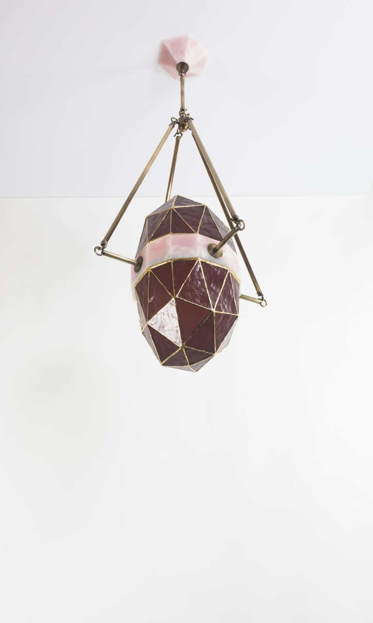 American Nucleus Blush/ Brass, Onyx, Stained Glass Contemporary Pendant/ Kalin Asenov For Sale