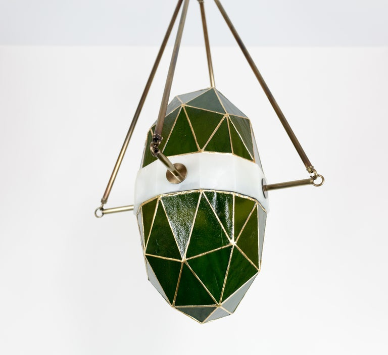 American Nucleus Emerald/Brass, Onyx, Stained Glass Contemporary Pendant Kalin Asenov For Sale