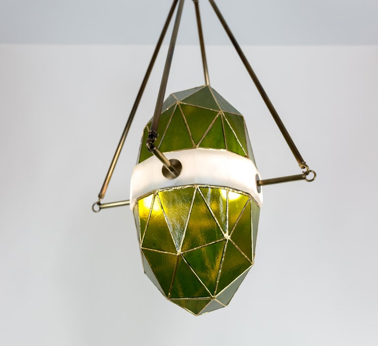 Nucleus Emerald/Brass, Onyx, Stained Glass Contemporary Pendant Kalin Asenov In New Condition For Sale In Savannah, GA