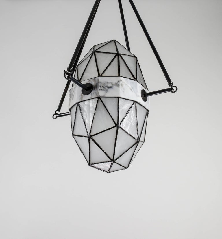 Modern Nucleus Ice / Brass, Marble, Stained Glass Contemporary Pendant by Kalin Asenov For Sale
