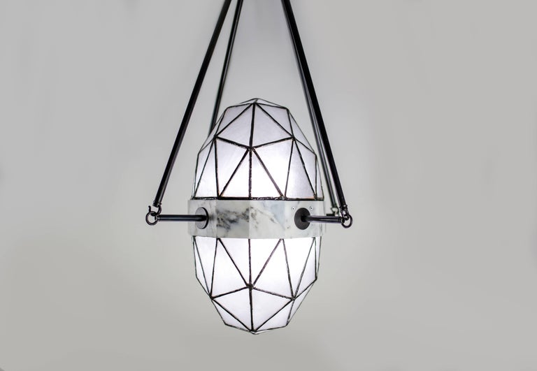 American Nucleus Ice / Brass, Marble, Stained Glass Contemporary Pendant by Kalin Asenov For Sale