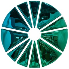 Nucleus Oversized Mirror Sculpture in Gradient Emerald and Sapphire