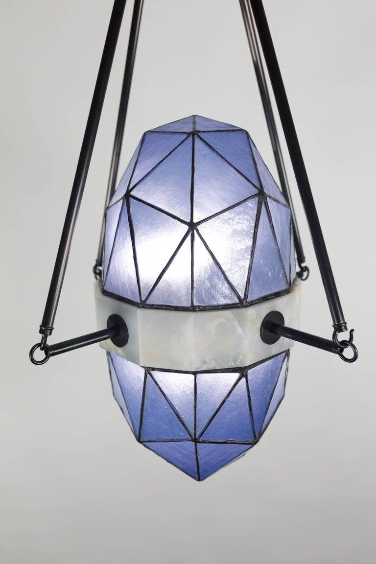 Nucleus Sapphire/ Brass, Onyx, Stained Glass Contemporary Pendant/Kalin Asenov For Sale 8
