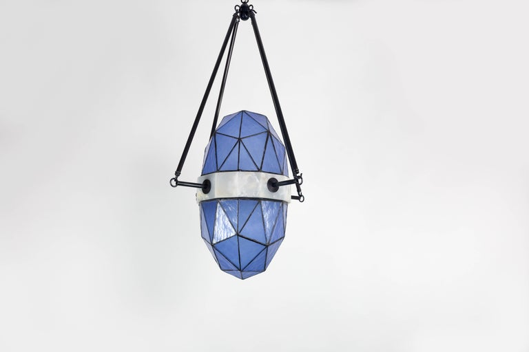 Nucleus Sapphire/ Brass, Onyx, Stained Glass Contemporary Pendant/Kalin Asenov In New Condition For Sale In Savannah, GA