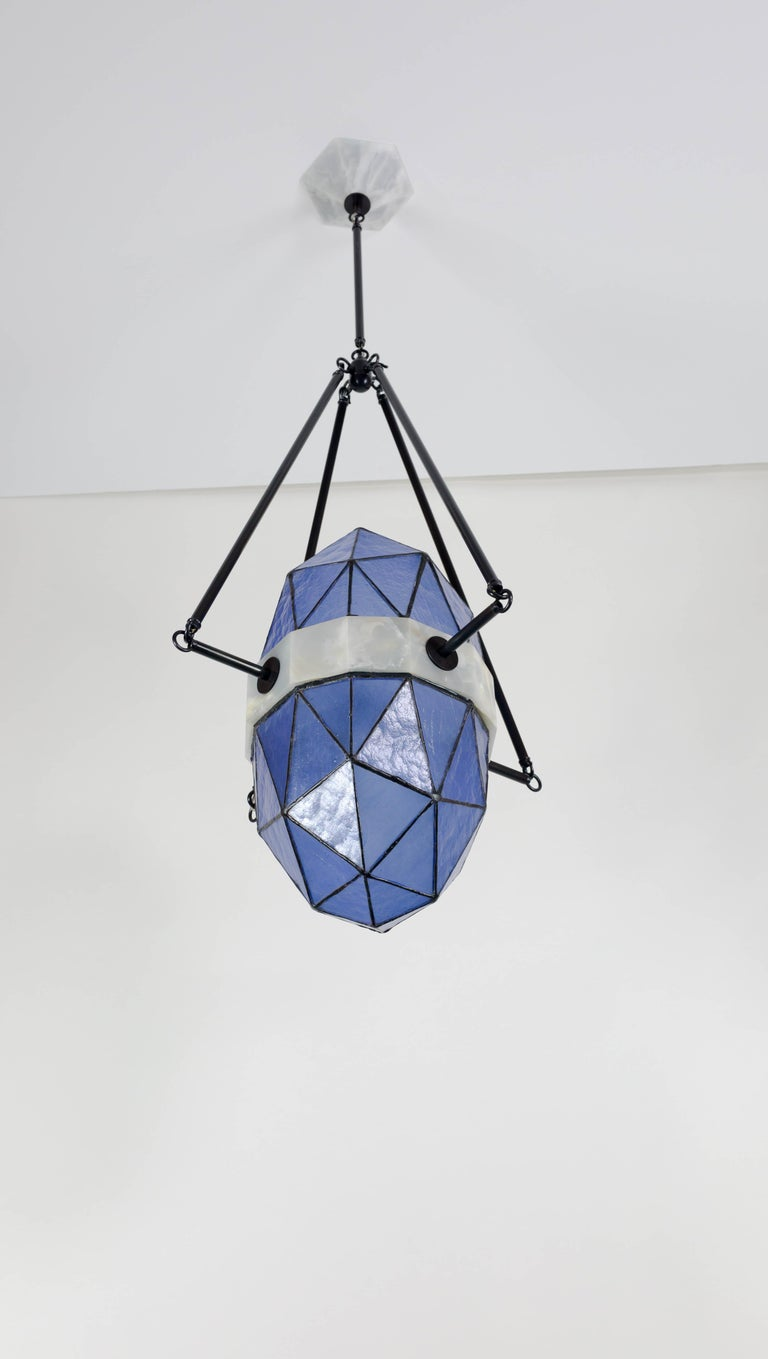 Nucleus Sapphire/ Brass, Onyx, Stained Glass Contemporary Pendant/Kalin Asenov For Sale 4