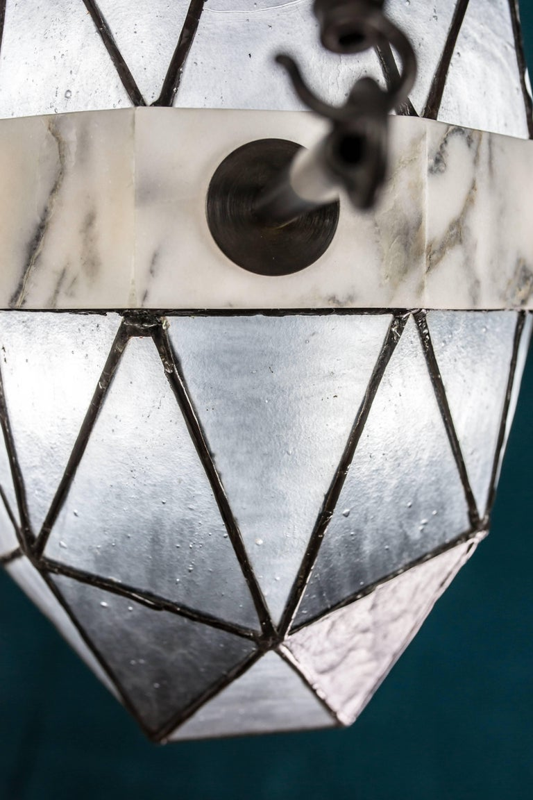 Nucleus Slate/ Brass, Marble, Stained Glass Contemporary Pendant by Kalin Asenov For Sale 6