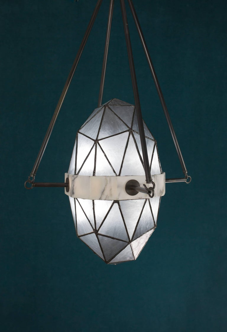 Nucleus Slate/ Brass, Marble, Stained Glass Contemporary Pendant by Kalin Asenov For Sale 7
