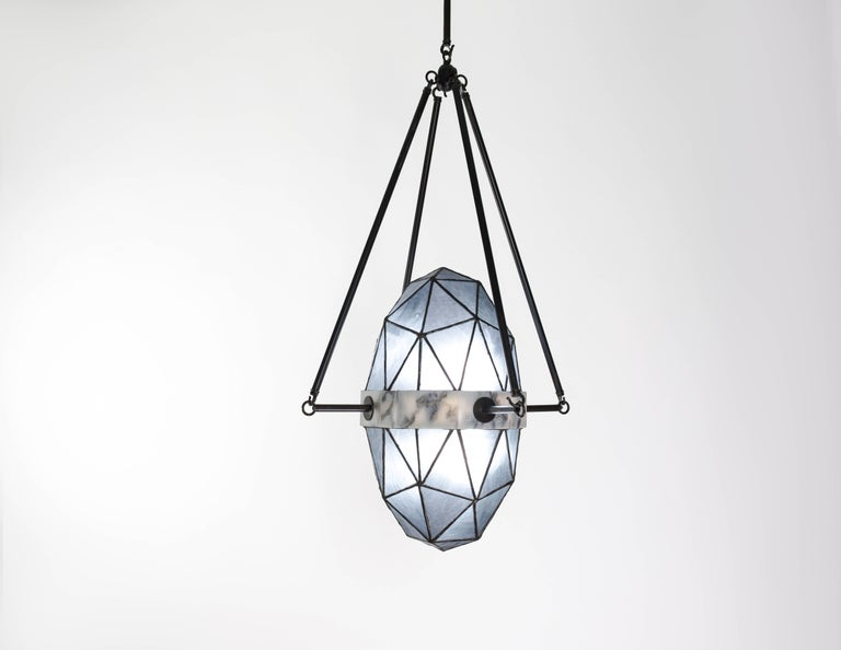 Nucleus Slate/ Brass, Marble, Stained Glass Contemporary Pendant by Kalin Asenov For Sale 2
