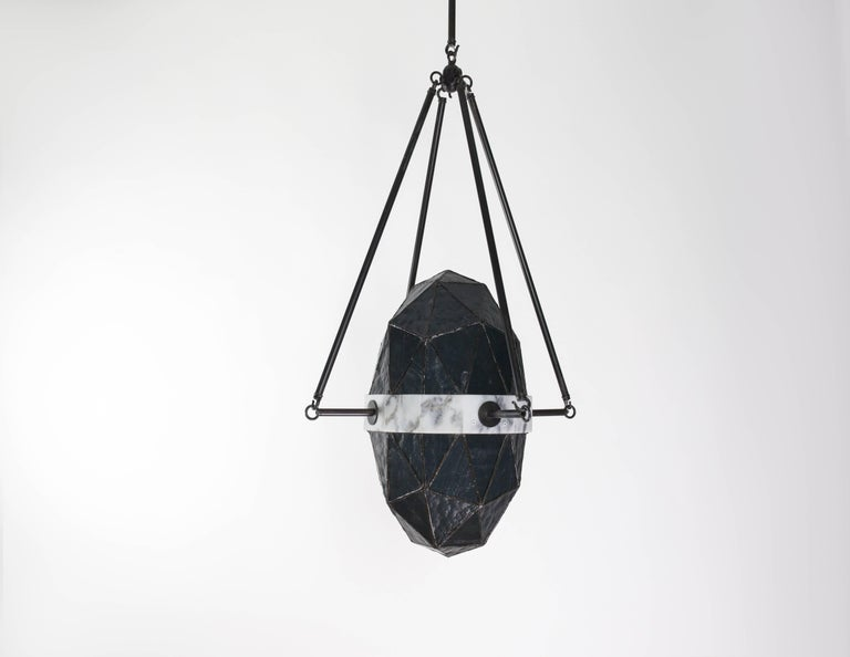 Nucleus Slate/ Brass, Marble, Stained Glass Contemporary Pendant by Kalin Asenov For Sale 3