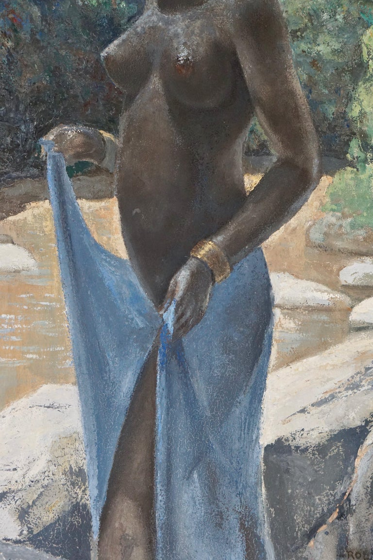 Dutch Painting of a Nude African Black Woman by Rob Franken For Sale