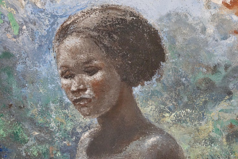 Painted Painting of a Nude African Black Woman by Rob Franken For Sale