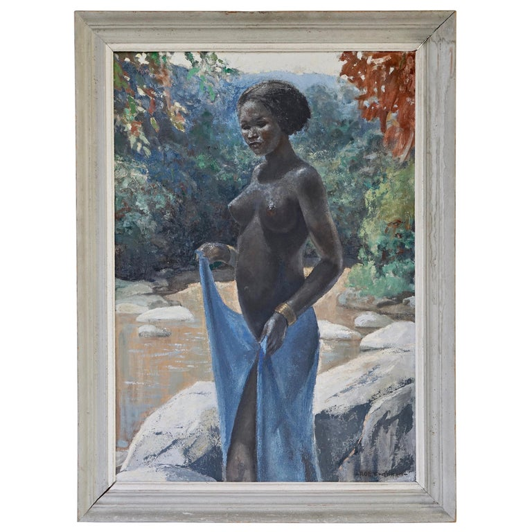 Painting of a Nude African Black Woman by Rob Franken For Sale