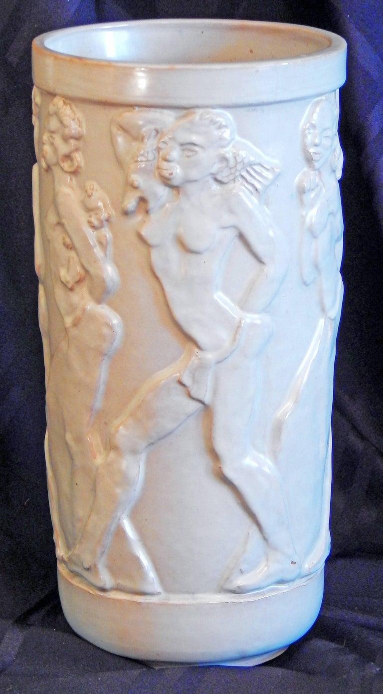 "Swedish ""Nude African Frieze,"" Exceptional Art Deco Sculptural Vase by Ebeling, Sweden For Sale"