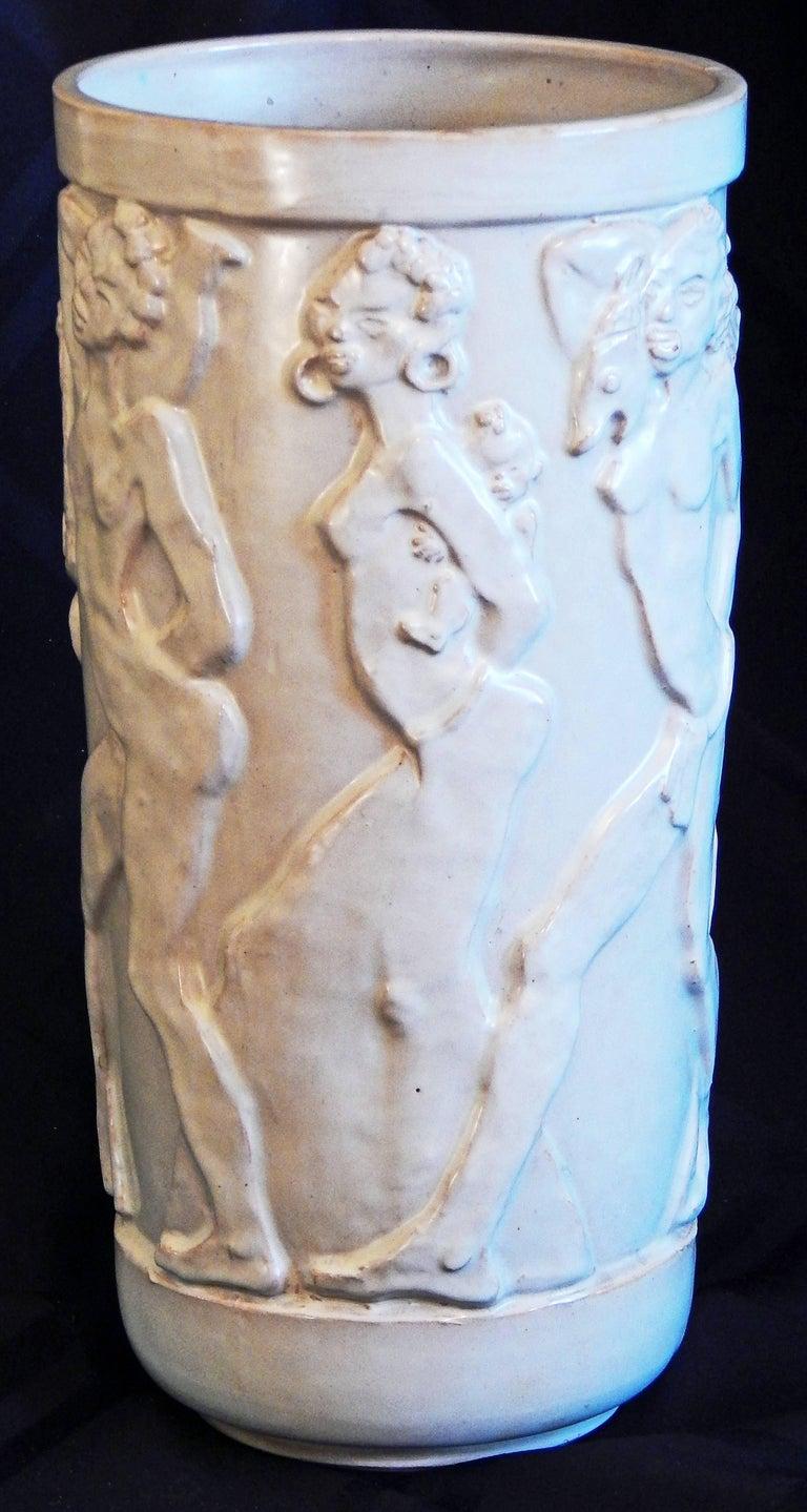 "Glazed ""Nude African Frieze,"" Exceptional Art Deco Sculptural Vase by Ebeling, Sweden For Sale"