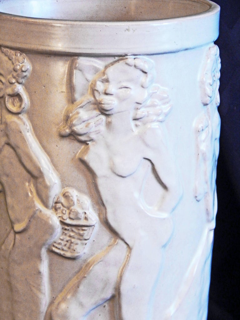 """""""Nude African Frieze,"""" Exceptional Art Deco Sculptural Vase by Ebeling, Sweden In Excellent Condition For Sale In Philadelphia, PA"""