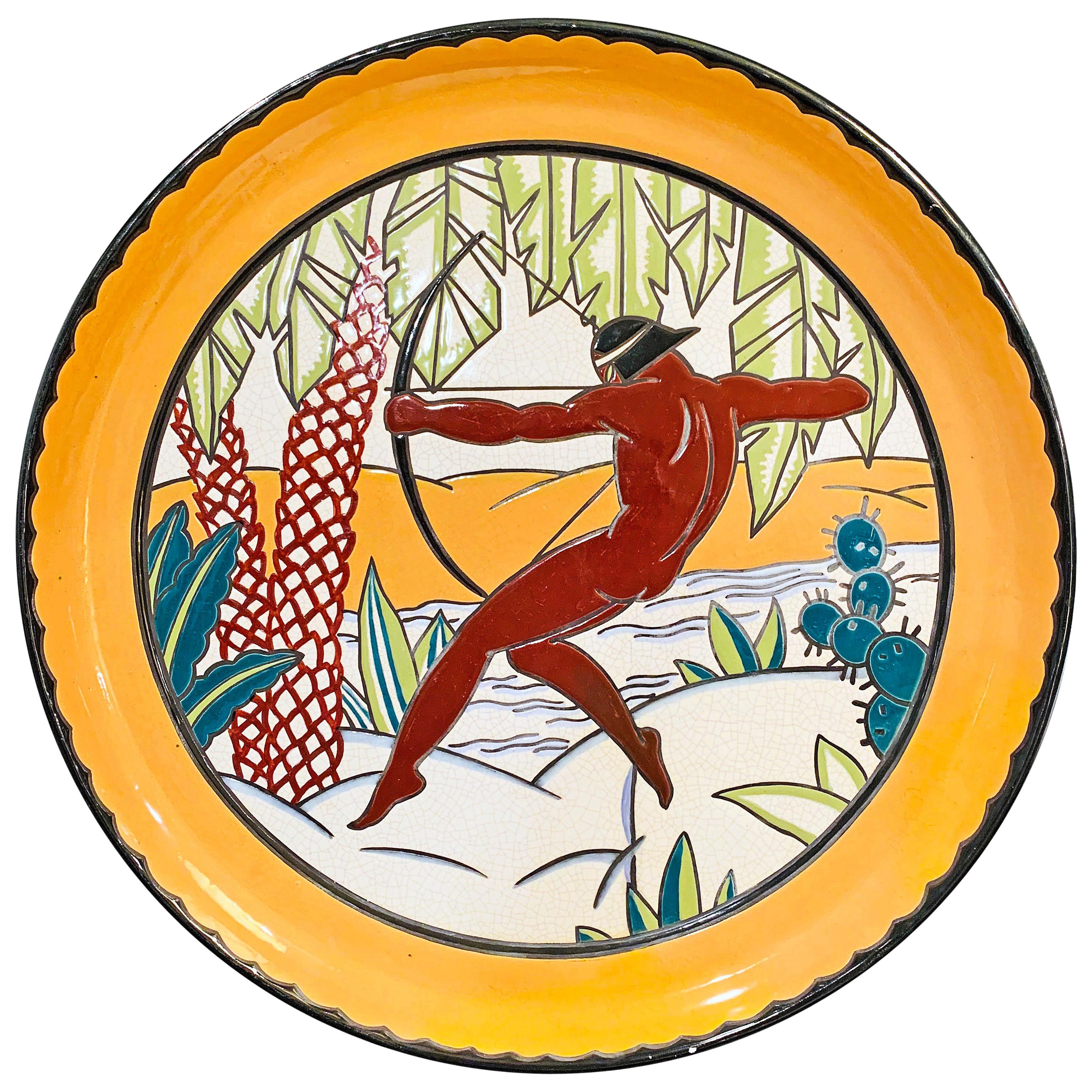 """""""Nude Archer in the Tropics,"""" Striking and Monumental Art Deco Bowl/Tray, France"""