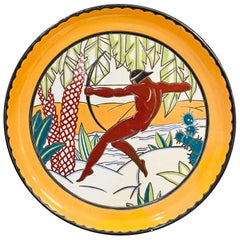 """Nude Archer in the Tropics,"" Striking and Monumental Art Deco Bowl/Tray, France"