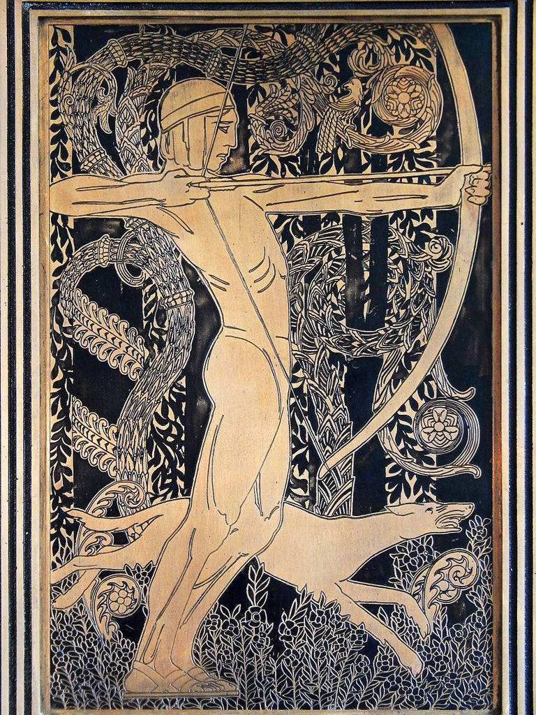 Strikingly designed and beautifully realized, this incised and enameled bronze panel depicts a nude youth drawing his bow, with a running hound at his feet, clearly showing the influence of 1920s French Art Deco design, as well as stylized Medieval