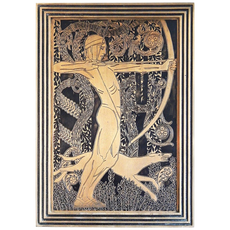 """""""Nude Archer with Hound,"""" Striking Art Deco Bronze Panel with Incised Figure For Sale"""