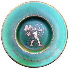 """Nude Archers,"" Rare Art Deco Dish Celebrating Stockholm Archery Competition"