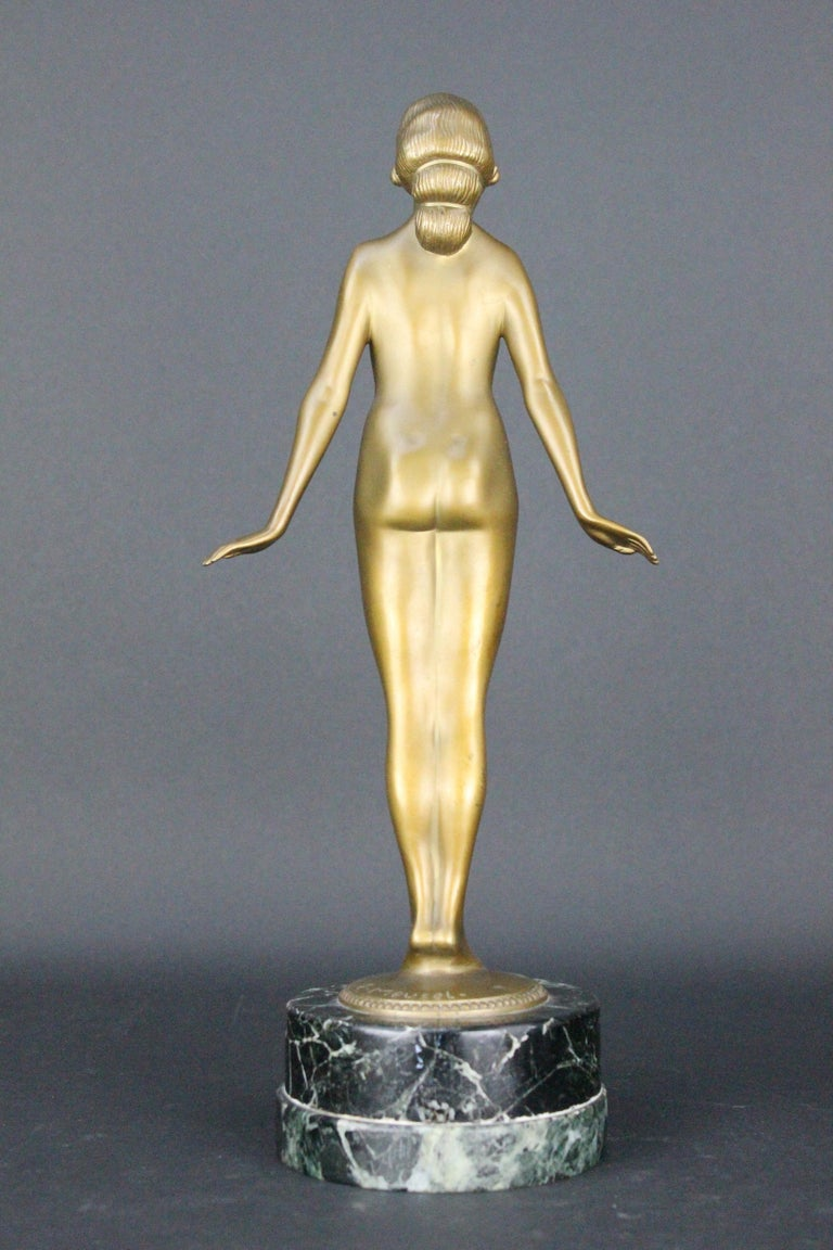 Cold-Painted Nude Art Deco  Bronze Sculpture by Edmund Meusel, circa 1925 For Sale