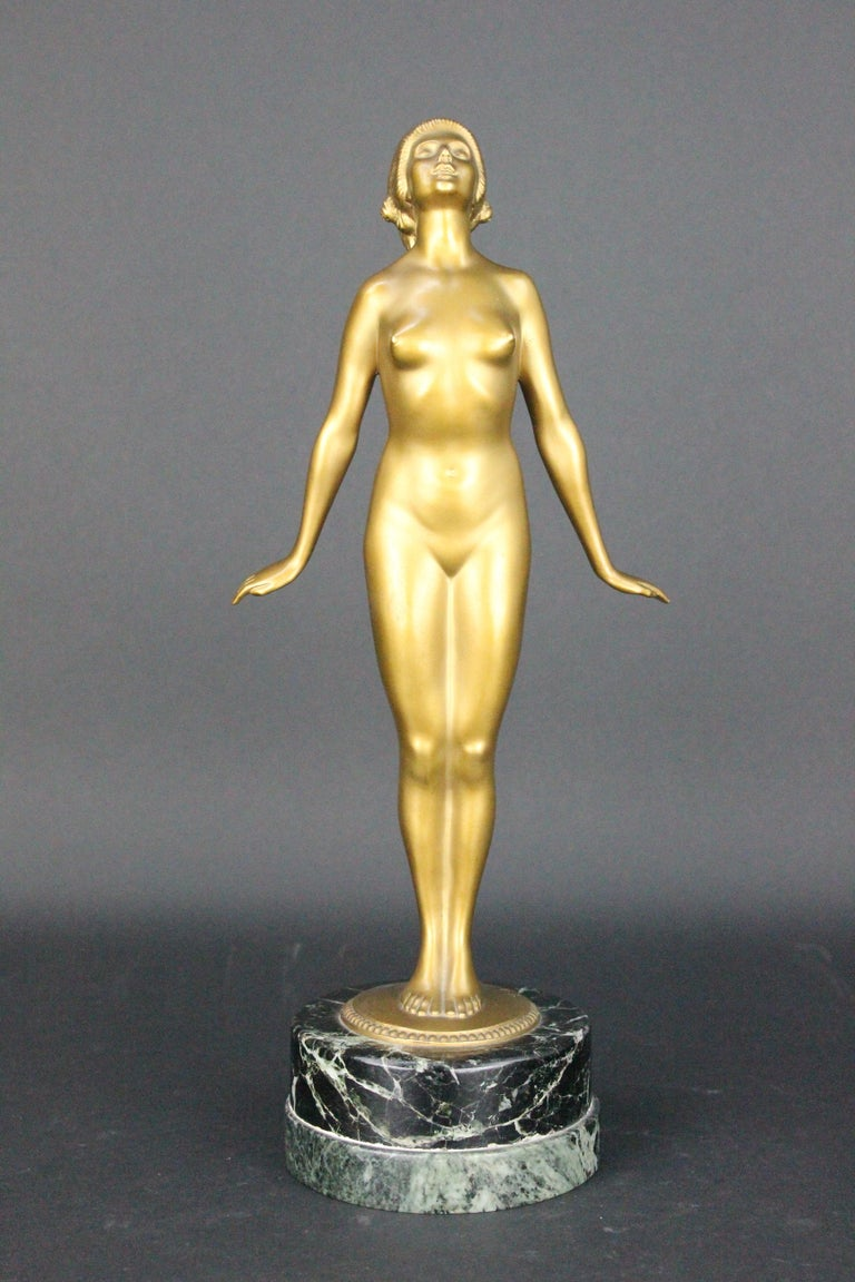 Nude Art Deco  Bronze Sculpture by Edmund Meusel, circa 1925 In Excellent Condition For Sale In Skanninge, SE