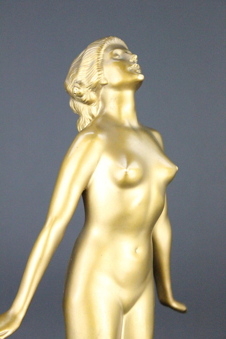 20th Century Nude Art Deco  Bronze Sculpture by Edmund Meusel, circa 1925 For Sale