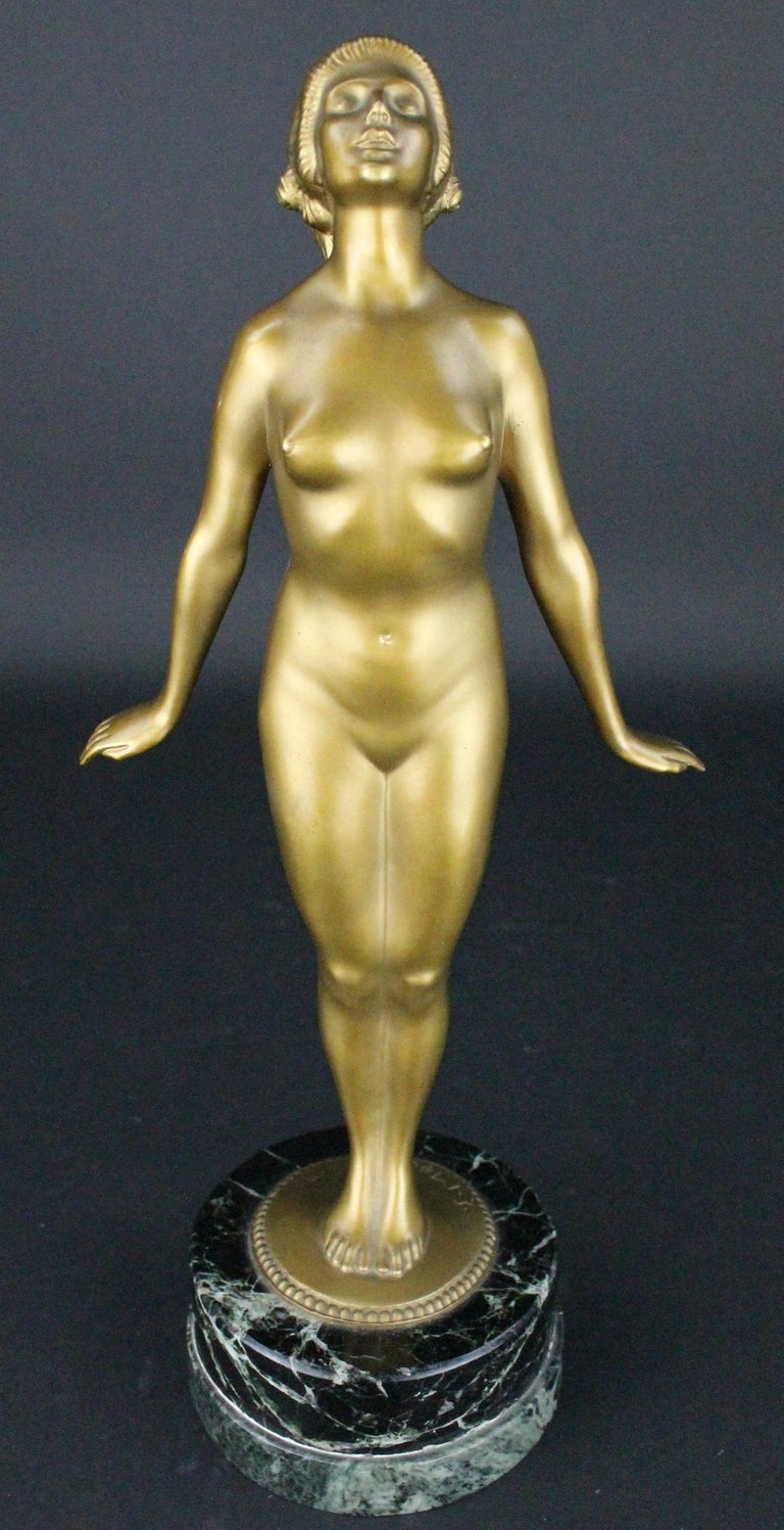 Marble Nude Art Deco  Bronze Sculpture by Edmund Meusel, circa 1925 For Sale