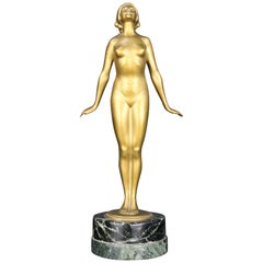 Nude Art Deco  Bronze Sculpture by Edmund Meusel, circa 1925