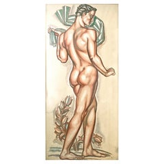 """Nude Athlete with Laurel Leaves,"" Monumental Nude Male Painting by Buthaud"