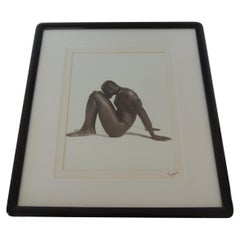 Nude Black and White Abstract Photograph of Black Male Sitting