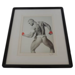 Nude Black and White Abstract Photograph of Male with Red Gloves