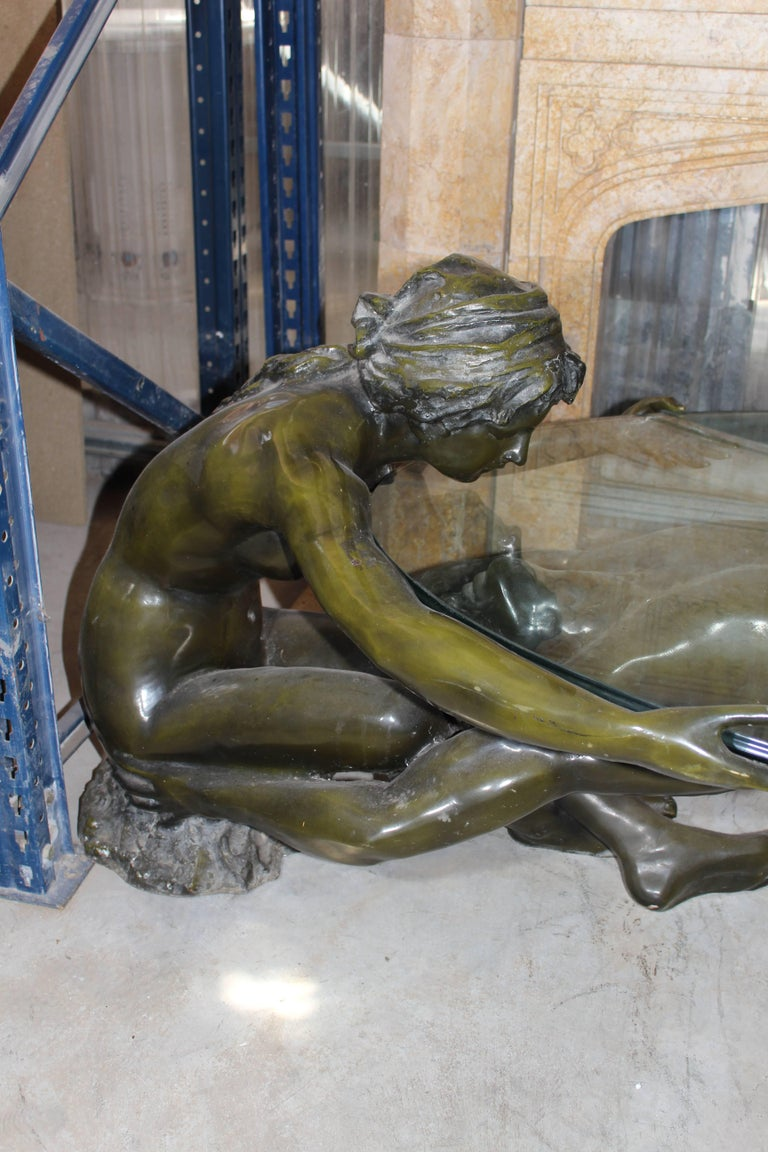 Late 20th Century Nude Couple Bronze Sculptures Glass Coffee Table For Sale