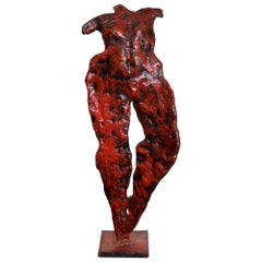 Nude Dancer Abstract Art Red Bronze Sculpture 1950s France Style of Giacometti