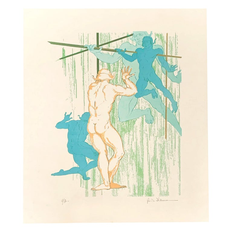 """""""Nude Dancers,"""" Rare Midcentury Color Print with Male Nudes by D'Anna For Sale"""